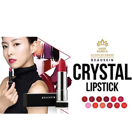 Son môi lâu trôi nhiều dưỡng Beauskin Crystal Lipstick 3.5g ( 08 Hồng Tươi) và móc khóa 8