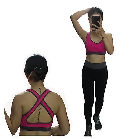 Bô quần áo fitness tập yoga, tập gym nữ cao cấp áo hai dây đan chéo sau lưng SR05 YG BH bộ hồng 1