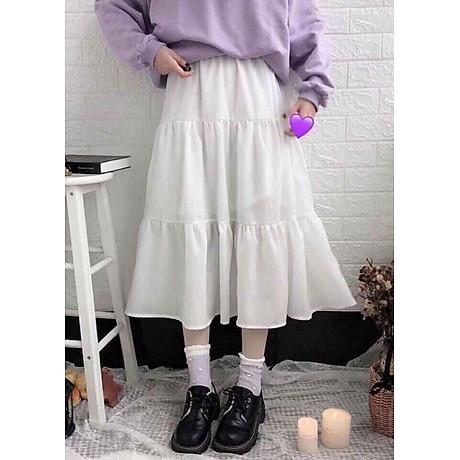 Chân váy xòe dáng dài chất đẹp, dễ thương 2 tầng cạp chun 2