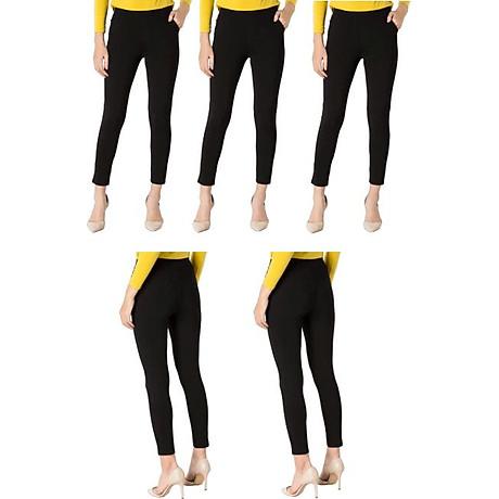 Bộ 5 Quần Legging Vicci dáng dài nâng mông màu Đen 2