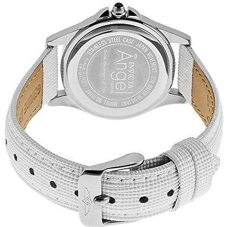 Invicta Women s 15147 Angel Stainless Steel and White Leather Watch 3