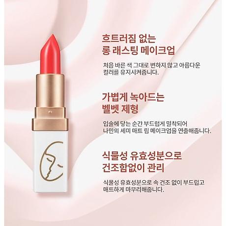 Son (Hàn Quốc) lì lâu trôi No1 (Đỏ san hô) _Javin De Seoul Flower For Me Velvet Lipstick - Red Coral 1 2
