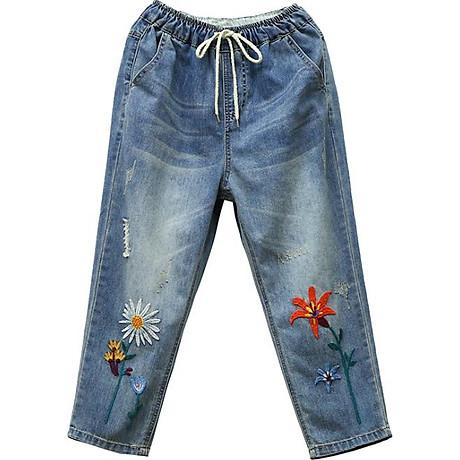 Quần jean bò ngố baggy thêu hoa cúc họa mi chất vải mềm thoáng QB17 5