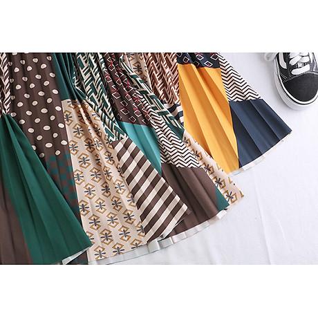 Chân váy xếp ly Vintage dáng dài chất không nhăn VAY35 phối nhiều màu (Free size) 3
