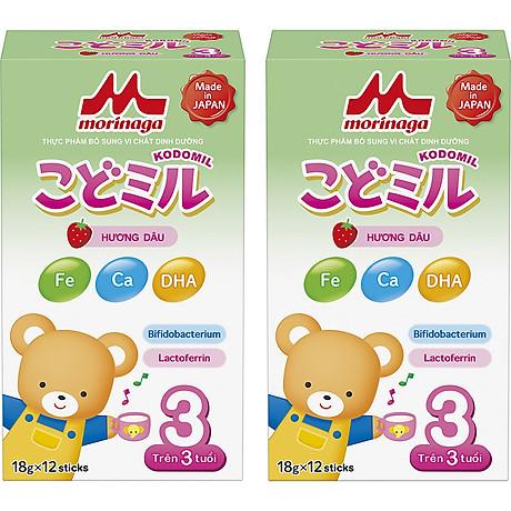 Combo 2 hộp Sữa Morinaga số 3 Hương dâu (Kodomil) 216g 1