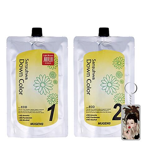 Thuốc nhuộm tóc phủ bạc Mugens Sansuhwa Color Hàn Quốc Số 2 Nâu Đen Dark Brown 2x450ml + Móc khóa 1