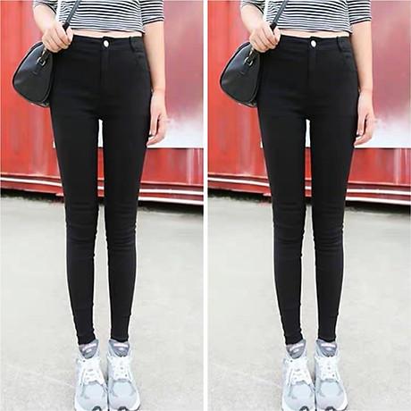 [ SIZE ĐẠI 60kg 90kg] Quần jean dài đen tuyền big size co dãn mạnh vải jean mềm lưng cao 2700 có rách gối 4