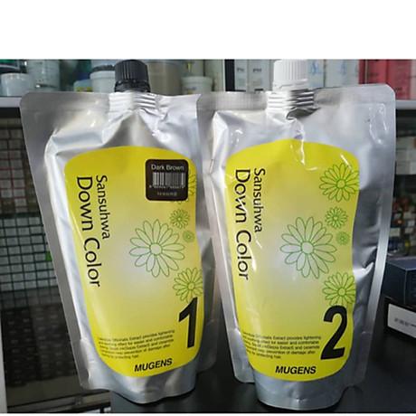 Thuốc nhuộm tóc phủ bạc Mugens Sansuhwa Color Hàn Quốc Số 2 Nâu Đen Dark Brown 2x450ml + Móc khóa 5