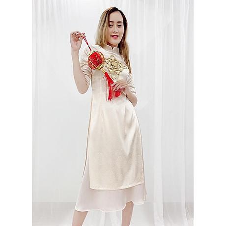 Set Áo Dài Cách Tân Gấm Nữ Đính Họa Tiết Nổi Phối Phụ Kiện Đẹp Kèm Chân Váy ROMI 3170 2