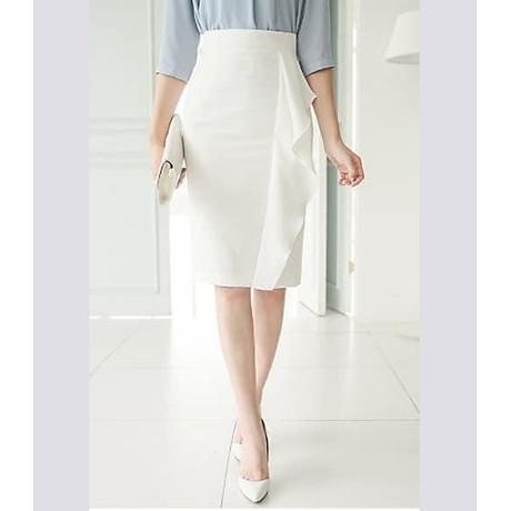 Chân váy bút chì phối bèo cách điệu (trắng) 2