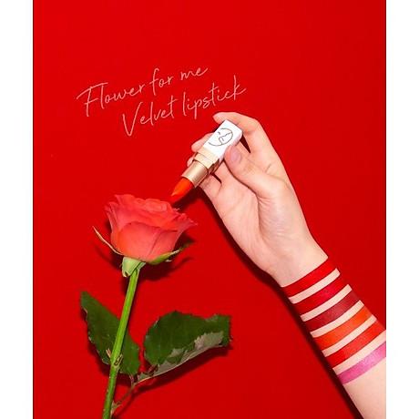 Son (Hàn Quốc) lì lâu trôi No1 (Đỏ san hô) _Javin De Seoul Flower For Me Velvet Lipstick - Red Coral 1 3