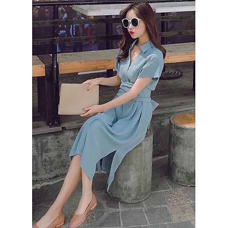 Đầm sm xám xanh thắt eo 2