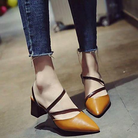 Giày cao gót 5cm dây chéo phối màu thời trang 4
