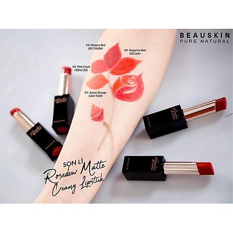 Son lì Beauskin Rosedew Matte Creamy Hàn Quốc No.02 Hồng đỏ tặng kèm móc khóa 6