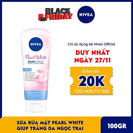Sữa rửa mặt NIVEA Pearl White giúp trắng da ngọc trai (100g) - 81295 1