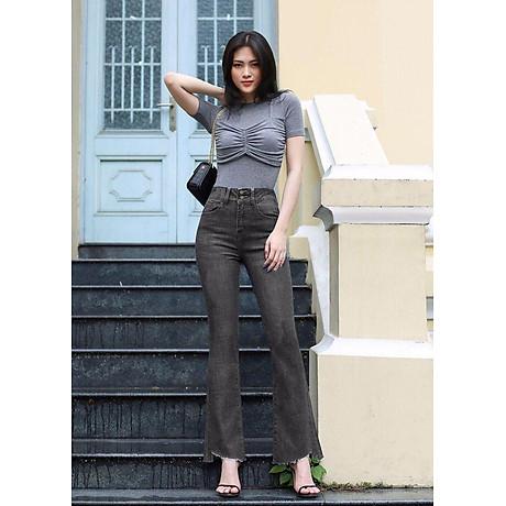 Quần jean nữ ống loe lưng cao lai kiểu 1