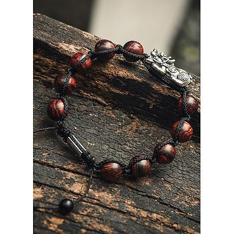Vòng phong thủy gỗ sưa chuỗi hạt tỳ hưu shambala 4