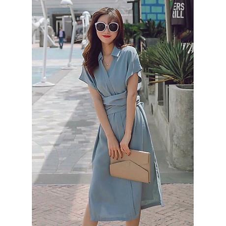 Đầm sm xám xanh thắt eo 1