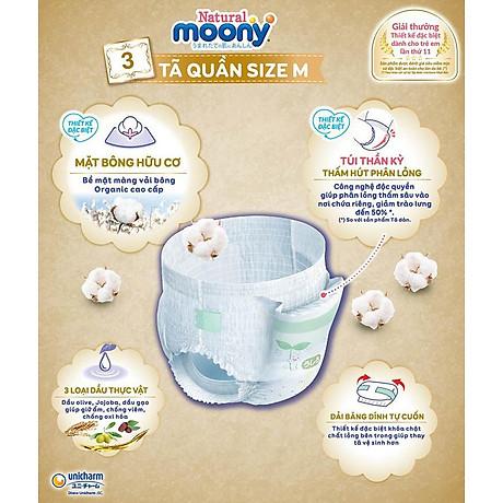 COMBO 2 Bỉm - Tã quần Moony Natural size M 46 miếng (Cho bé 5 - 10kg) 3