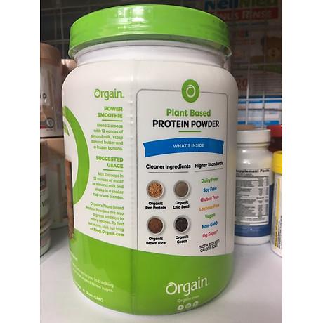 Bột Protein thực vật hữu cơ Orgain Organic Protein Greens 462g hương socola 3