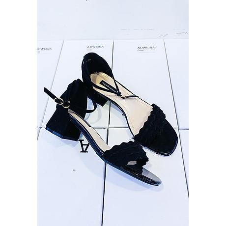 Giày Sandal Cao Gót Nữ Gót Vuông Quai Sóng 4