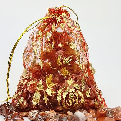 Túi Tài Lộc đá Thạch Anh Đỏ 100g 1