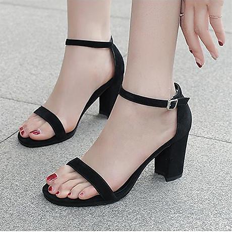 Giày cao gót 7 phân màu đen chất da lộn đế vuông quai ngang bản nhỏ 5