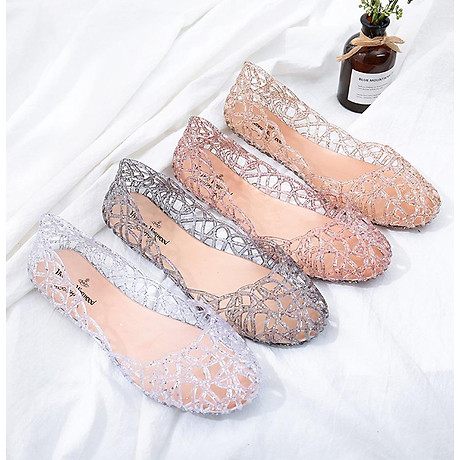 Giày búp bê nữ đế bằng nhựa đi mưa siêu bền đi thoáng và êm chân full size nhiều màu V217 4