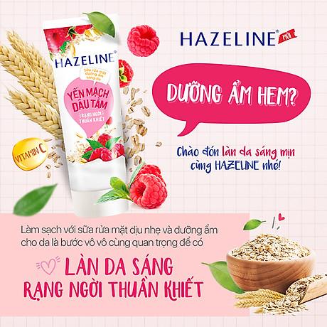 Sữa Rửa Mặt Hazeline Dưỡng Ẩm Sáng Da Yến Mạch Và Dâu Tằm (100g) 3