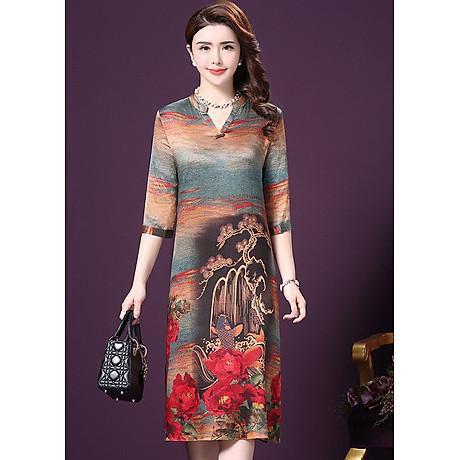 Đầm Suông BigSize Cổ Trụ In Họa Tiết Hoa Và Cá Kiểu Đầm Suông Trung Niên Dự Tiệc Size Lớn ROMI 1521D 3