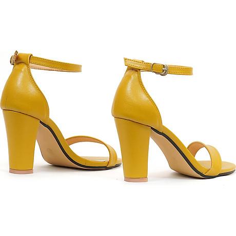 Giày sandal nữ cao gót, chiều cao gót 9CM, da Microfiber nhập khẩu cao cấp êm ái, bền chắc và thời trang, mũi tròn, gót trụ vững trãi bọc da đồng màu sang trọng và chắc chắn, thiết kế đơn giản, tinh tế, thời trang SD.V04.9F 3