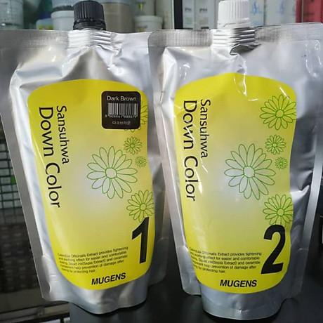 Thuốc nhuộm tóc phủ bạc Mugens Sansuhwa Color Hàn Quốc Số 2 Nâu Đen Dark Brown 2x450ml + Móc khóa 3