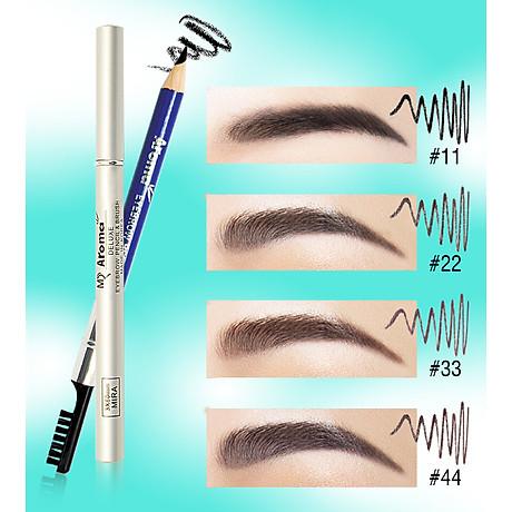 Chì vẽ mày sắc nét Aroma Eyebrow Pencil Hàn Quốc No.11 Balck tặng kèm móc khoá 2