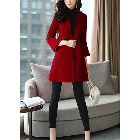 Áo khoác dáng dài kiểu áo khoác kaki măng tô phối tay loe tầng ROMI 3106 2