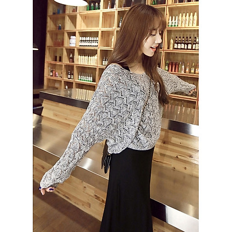 Áo len mỏng nữ dài tay dệt quả trám ALen03 (Xám) 2