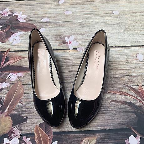 Giày nữ bít mũi đế xuồng cao 5cm kiểu trơn da bóng mềm nhẹ C14n có ảnh thật 7