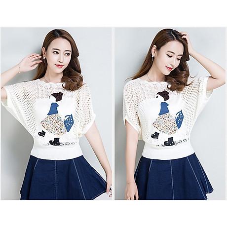 Áo len nữ mỏng nhẹ họa tiết cô gái Haint Boutique Al37 2