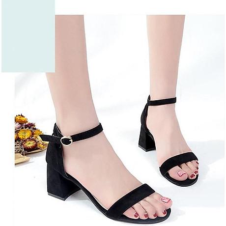 Giày Cao Gót Đế Vuông Quai Ngang Black 2