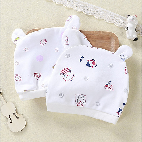Combo 2 Mũ Che Thóp Cotton Mềm Cho Trẻ Sơ Sinh 0-6 Tháng - Họa Tiết Bé Gái 1