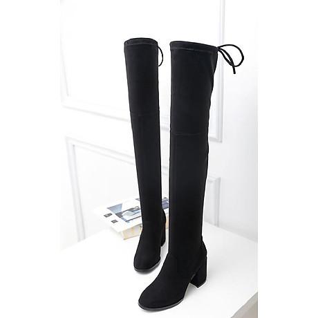 Giày bốt nữ cổ cao qua gối cao 6cm da lộn GCC1901 5