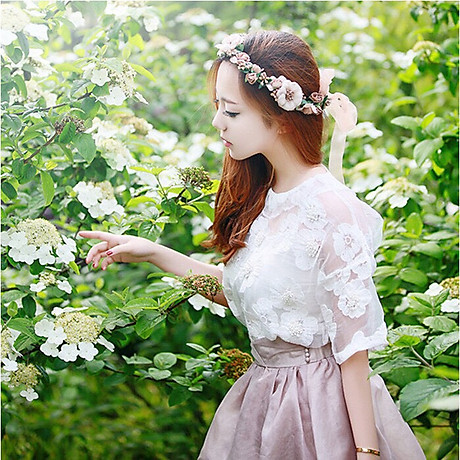 Băng đô đội đầu hình bông hoa cho bạn gái chụp kỷ yếu , trang điểm cô dâu Beety-919 5