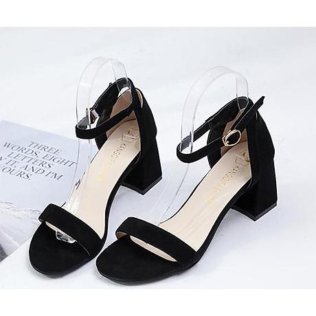 Giày Cao Gót Đế Vuông Quai Ngang Black 6