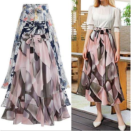 Chân váy voan mềm tung bay phong cách Vintage Châu Âu VAY66 free size 6