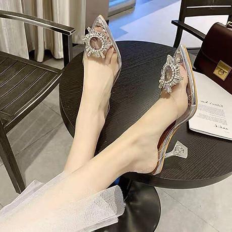 Giày Sandal Nữ Cao Gót Hoa Mặt Trời Trong Suốt Gót 5p Êm Chân kèm Tất Vớ Da Chân - Giày cao gót nữ quai trong hoa đá- mũi nhọn sang chảnh 5