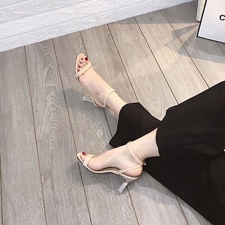 Sandal quai ngang gót mika bọc viền pha lê cực sang-sandal nữ, sandal nữ cao gót, sandal cao gót, sandal-gót mika bọc viền pha lê, 7cm 5
