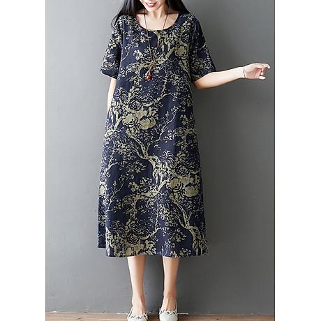 Đầm suông trung niên họa tiết LAHstore, chất thô mềm mát thích hợp mùa hè, phong cách Hàn Quốc (Xanh than họa tiết vàng) 1