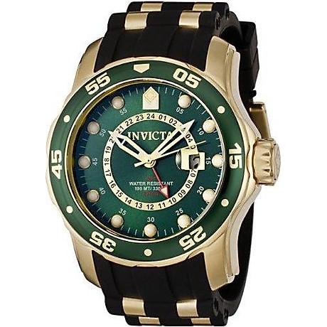 Invicta Men s 6994 Pro Diver Collection GMT Green Dial Black Polyurethane Watch 7