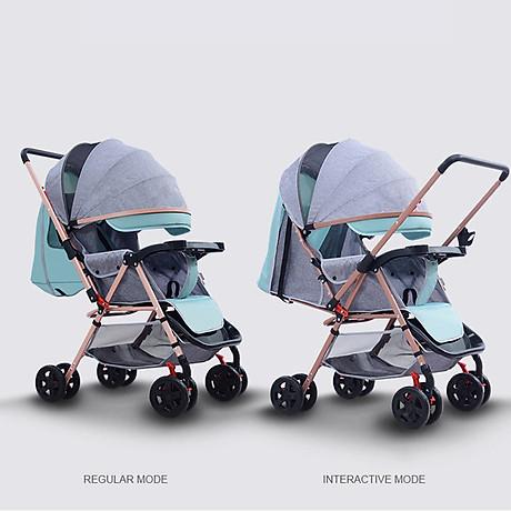 Xe đẩy trẻ em 2 chiều 3 tư thế gấp gọn khi đi du lịch, khung chắc chắn có mái che 3