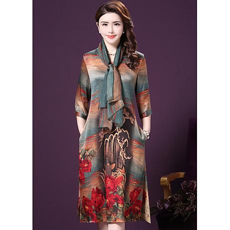 Đầm Suông BigSize Cổ Trụ In Họa Tiết Hoa Và Cá Kiểu Đầm Suông Trung Niên Dự Tiệc Size Lớn ROMI 1521D 5