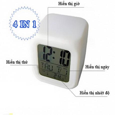 Đồng hồ để bàn hình lập phương, tự thay đổi màu sắc - Tặng kèm móc dán tường (giao màu ngẫu nhiên) 5